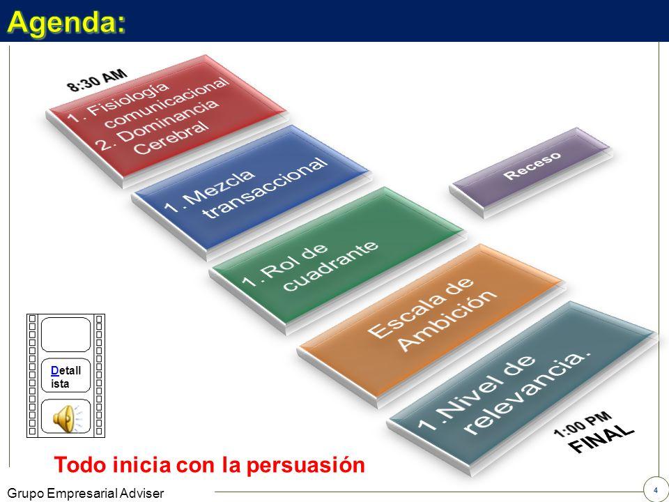 3 Grupo Empresarial Adviser Objetivo: Desarrollar como competencia la capacidad de acercarse a una interpretación del cliente a partir de su lenguaje