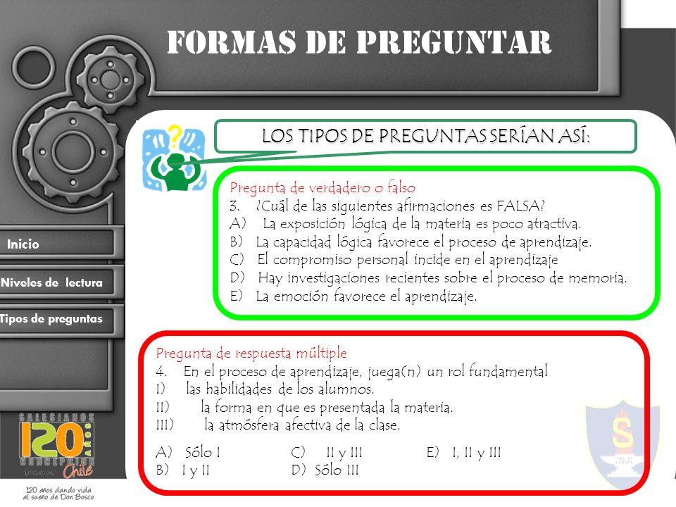 Formas de preguntar Inicio Niveles de lectura Tipos de preguntas Pregunta de verdadero o falso 3. ¿Cuál de las siguientes afirmaciones es FALSA? A) La