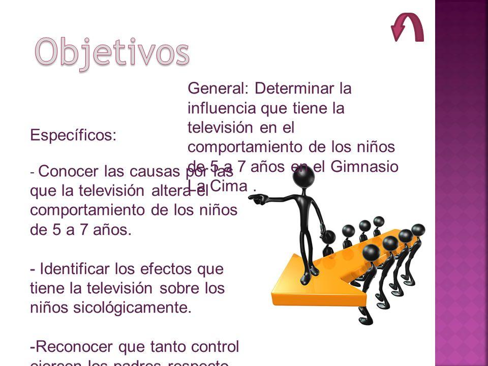 General: Determinar la influencia que tiene la televisión en el comportamiento de los niños de 5 a 7 años en el Gimnasio La Cima. Específicos: - Conoc