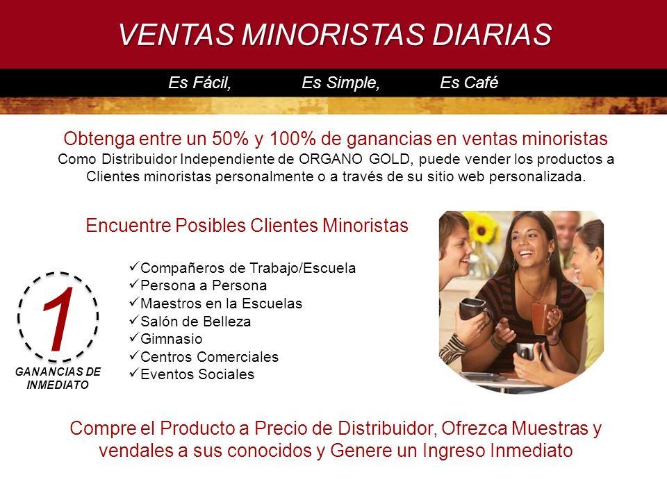 VENTAS MINORISTAS DIARIAS Es Fácil, Es Simple, Es Café Obtenga entre un 50% y 100% de ganancias en ventas minoristas Como Distribuidor Independiente d