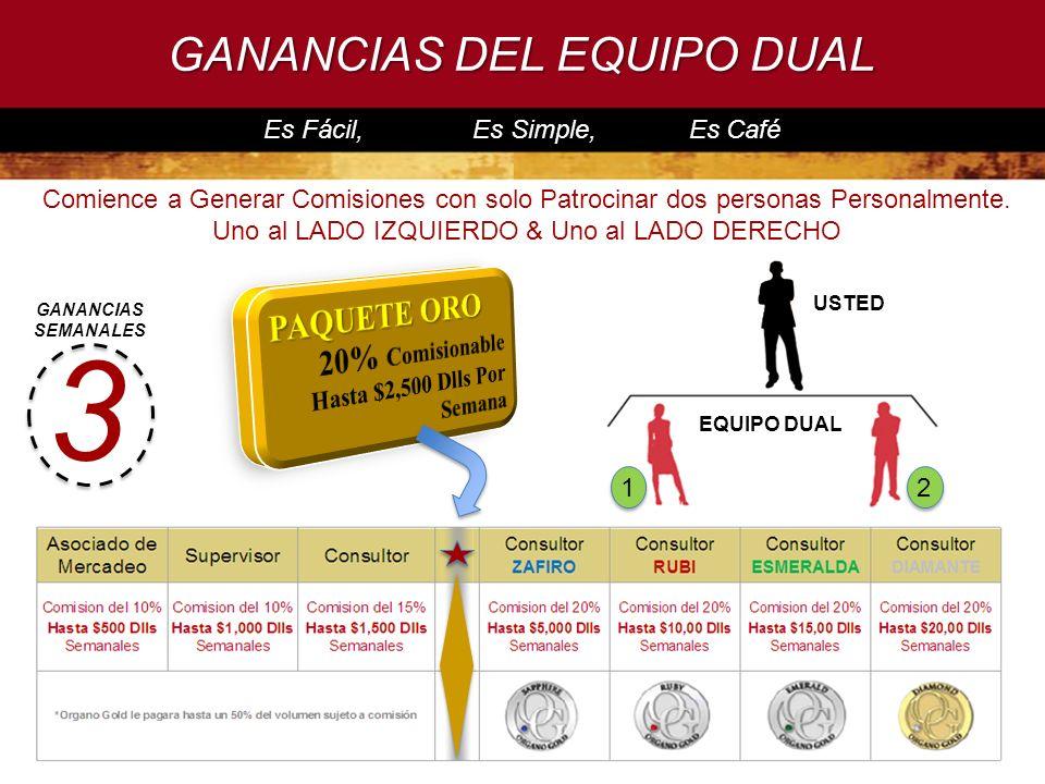 GANANCIAS DEL EQUIPO DUAL Es Fácil, Es Simple, Es Café 3 USTED 12 EQUIPO DUAL Comience a Generar Comisiones con solo Patrocinar dos personas Personalm