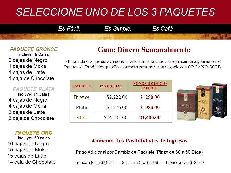 SELECCIONE UNO DE LOS 3 PAQUETES Es Fácil, Es Simple, Es Café PAQUETE BRONCE Incluye: 5 Cajas 2 cajas de Negro 1 cajas de Moka 1 cajas de Latte 1 caja