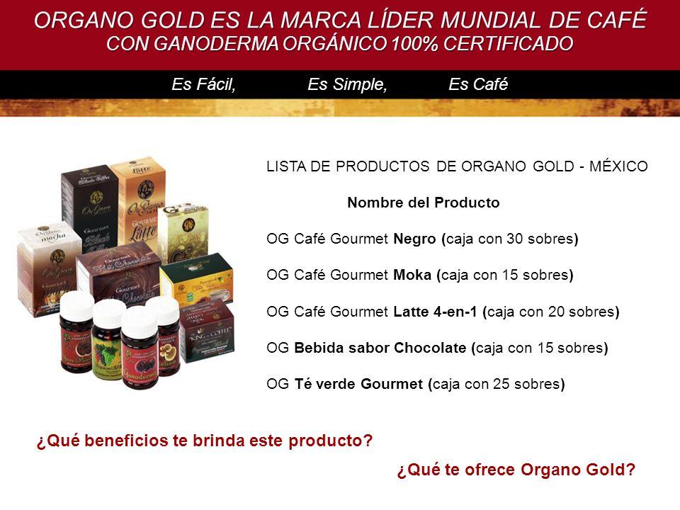 Es Fácil, Es Simple, Es Café ¿Qué beneficios te brinda este producto? ORGANO GOLD ES LA MARCA LÍDER MUNDIAL DE CAFÉ CON GANODERMA ORGÁNICO 100% CERTIF