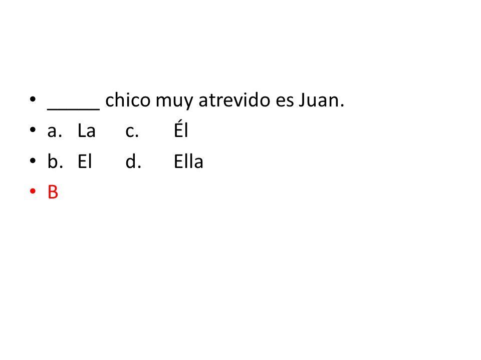 _____ chico muy atrevido es Juan. a.Lac.Él b.Eld.Ella B
