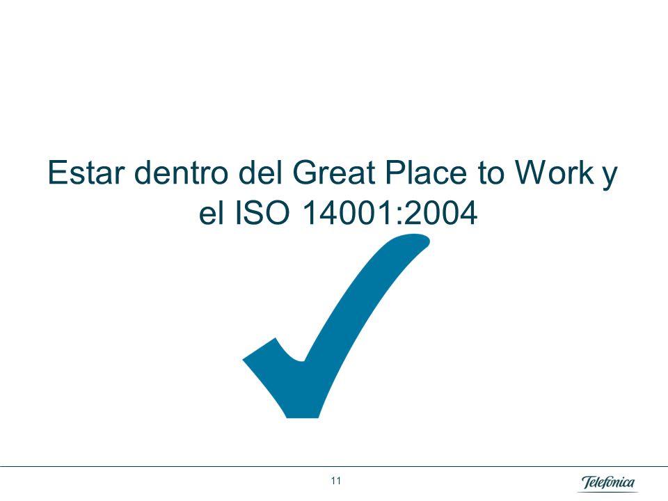 Área: Lorem ipsum Razón Social: Telefónica Estar dentro del Great Place to Work y el ISO 14001:2004 11