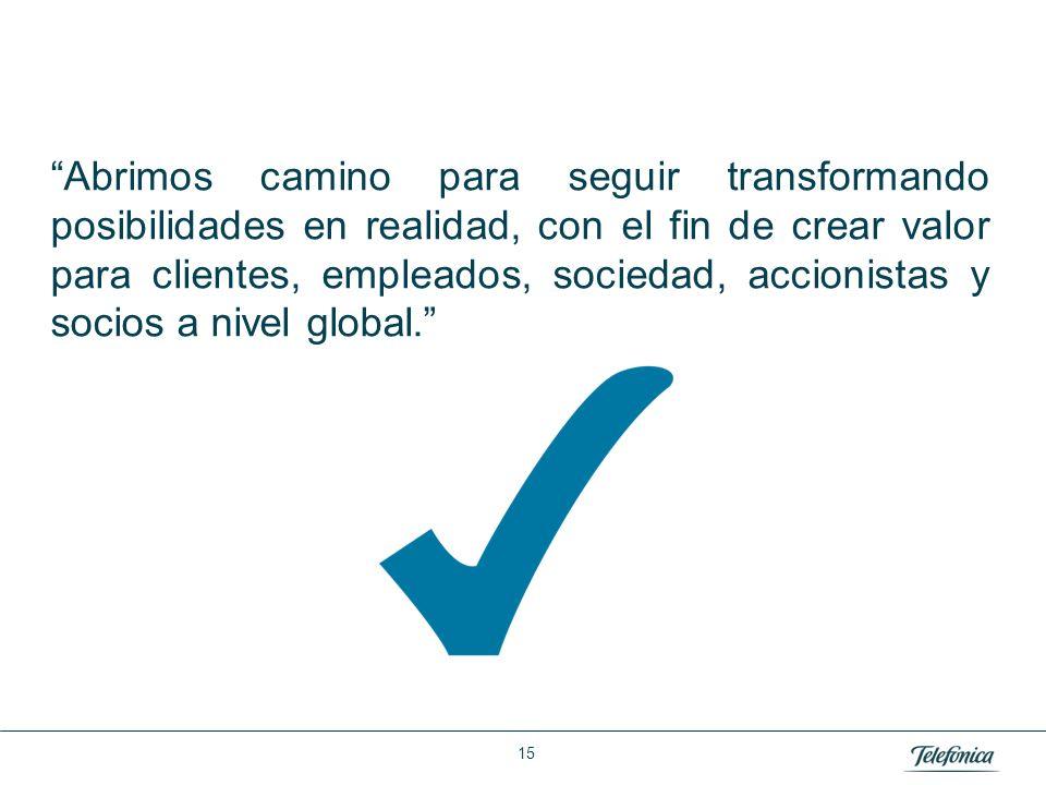 Área: Lorem ipsum Razón Social: Telefónica Abrimos camino para seguir transformando posibilidades en realidad, con el fin de crear valor para clientes