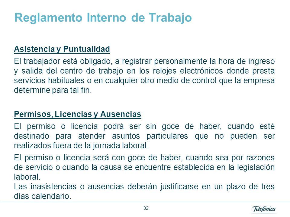 Área: Lorem ipsum Razón Social: Telefónica Reglamento Interno de Trabajo Asistencia y Puntualidad El trabajador está obligado, a registrar personalmen