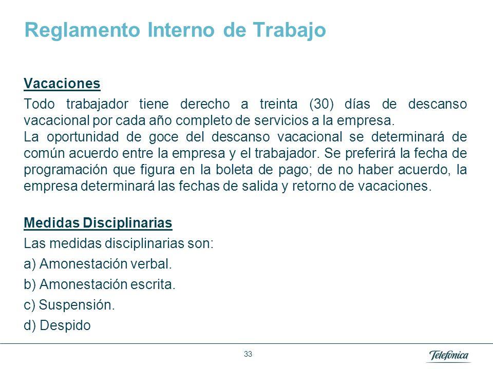Área: Lorem ipsum Razón Social: Telefónica Reglamento Interno de Trabajo Vacaciones Todo trabajador tiene derecho a treinta (30) días de descanso vaca