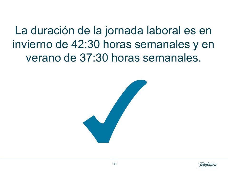 Área: Lorem ipsum Razón Social: Telefónica La duración de la jornada laboral es en invierno de 42:30 horas semanales y en verano de 37:30 horas semana