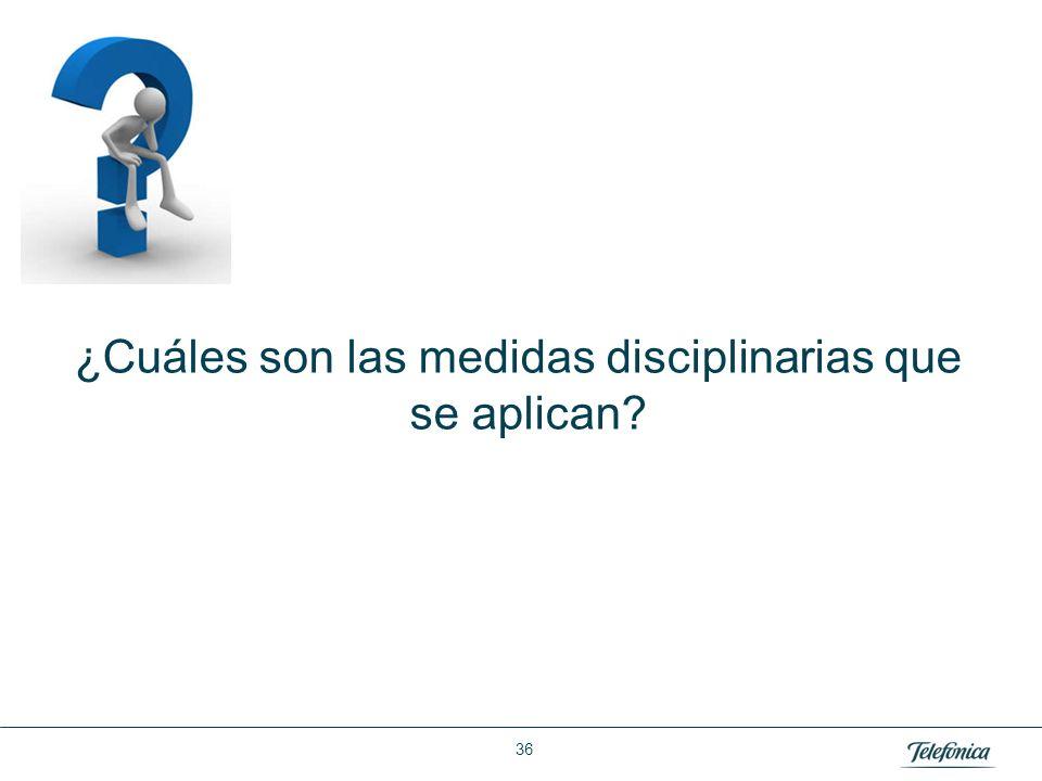 Área: Lorem ipsum Razón Social: Telefónica ¿Cuáles son las medidas disciplinarias que se aplican? 36