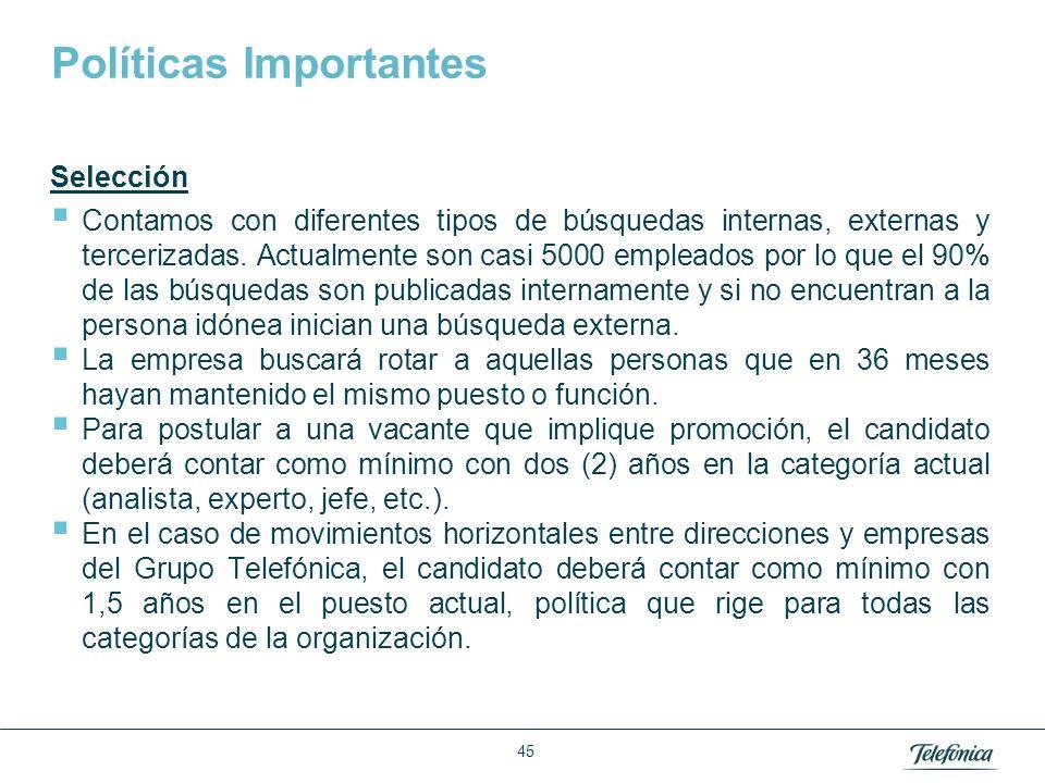 Área: Lorem ipsum Razón Social: Telefónica Políticas Importantes Selección Contamos con diferentes tipos de búsquedas internas, externas y tercerizada