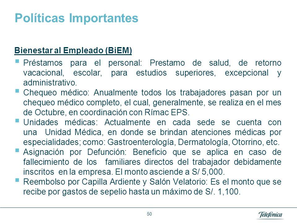 Área: Lorem ipsum Razón Social: Telefónica Políticas Importantes Bienestar al Empleado (BiEM) Préstamos para el personal: Prestamo de salud, de retorn