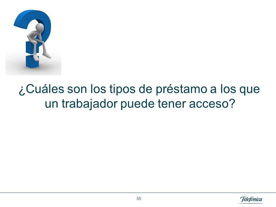 Área: Lorem ipsum Razón Social: Telefónica ¿Cuáles son los tipos de préstamo a los que un trabajador puede tener acceso? 55