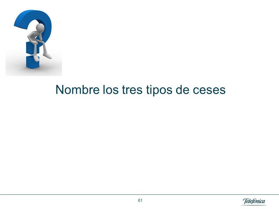 Área: Lorem ipsum Razón Social: Telefónica Nombre los tres tipos de ceses 61