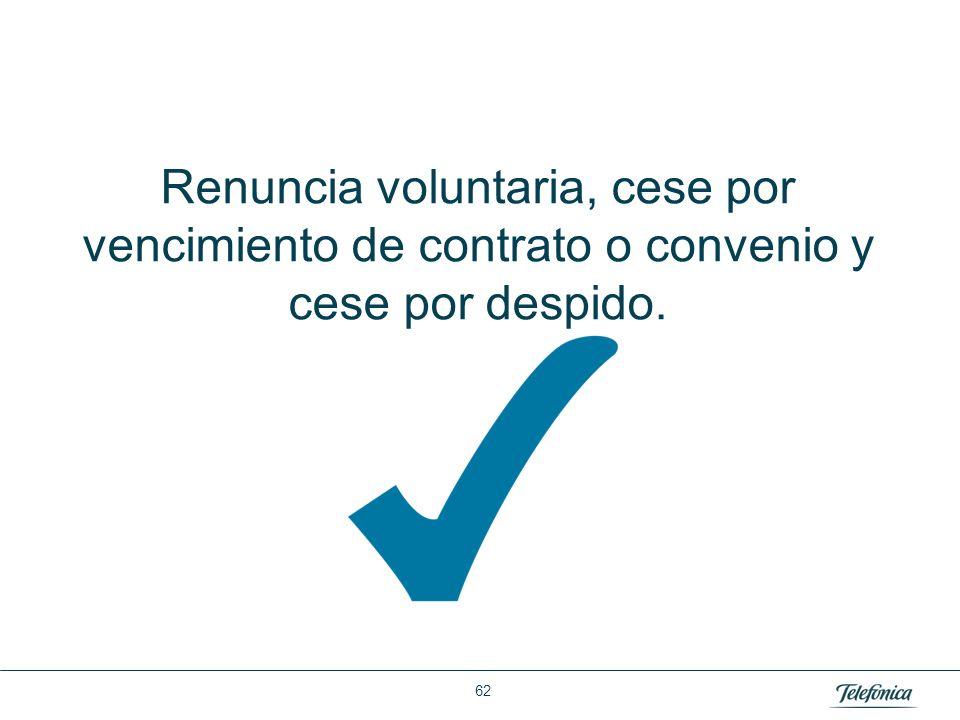 Área: Lorem ipsum Razón Social: Telefónica Renuncia voluntaria, cese por vencimiento de contrato o convenio y cese por despido. 62