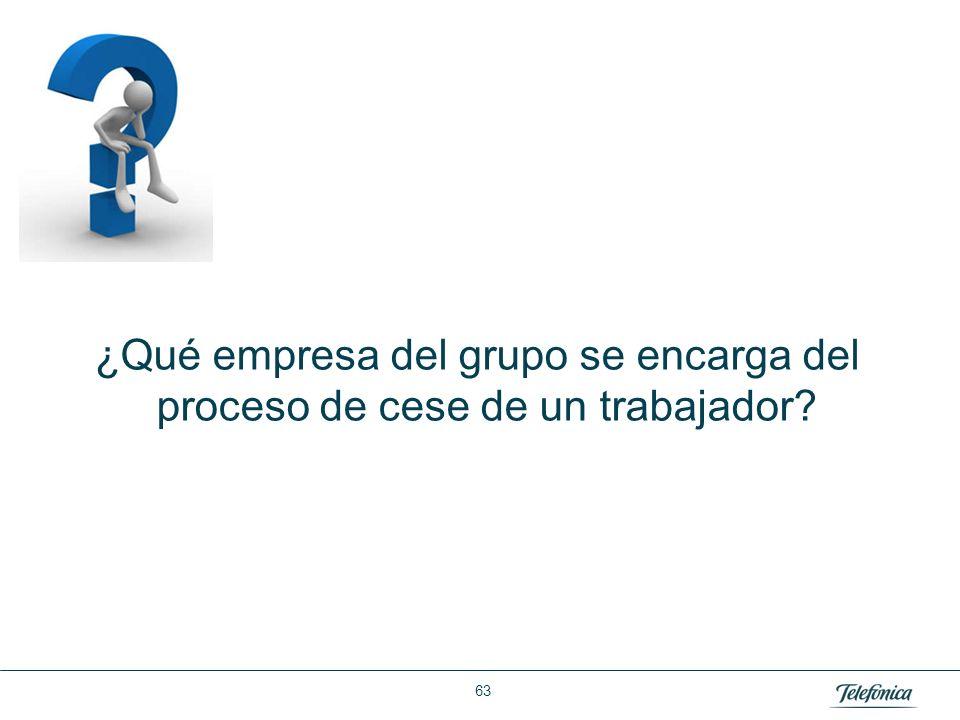 Área: Lorem ipsum Razón Social: Telefónica ¿Qué empresa del grupo se encarga del proceso de cese de un trabajador? 63