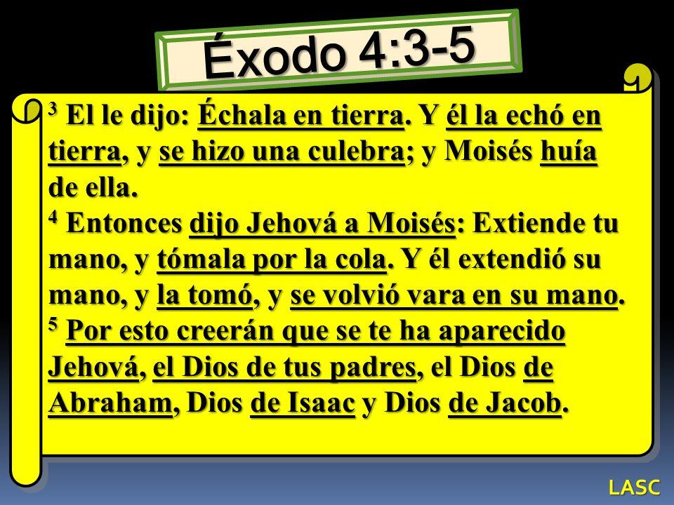 Éxodo 4:3-5 3 El le dijo: Échala en tierra. Y él la echó en tierra, y se hizo una culebra; y Moisés huía de ella. 4 Entonces dijo Jehová a Moisés: Ext