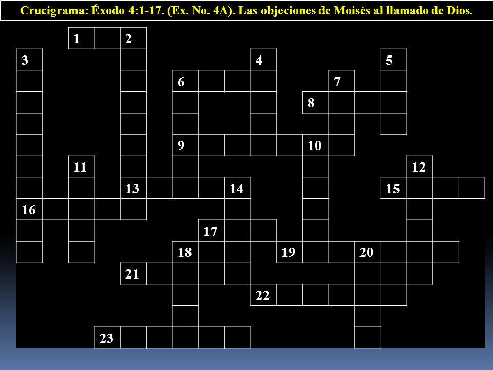 12 345 67 8 910 1112 131415 16 17 181920 21 22 23 Crucigrama: Éxodo 4:1-17. (Ex. No. 4A). Las objeciones de Moisés al llamado de Dios.