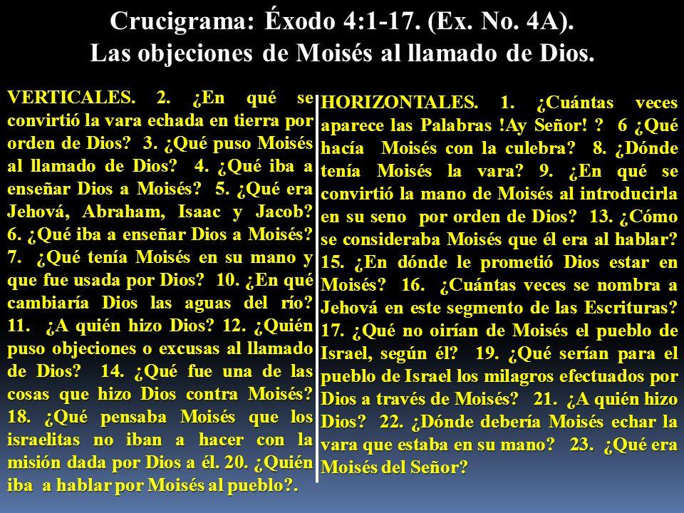 Crucigrama: Éxodo 4:1-17. (Ex. No. 4A). Las objeciones de Moisés al llamado de Dios. VERTICALES. 2. ¿En qué se convirtió la vara echada en tierra por