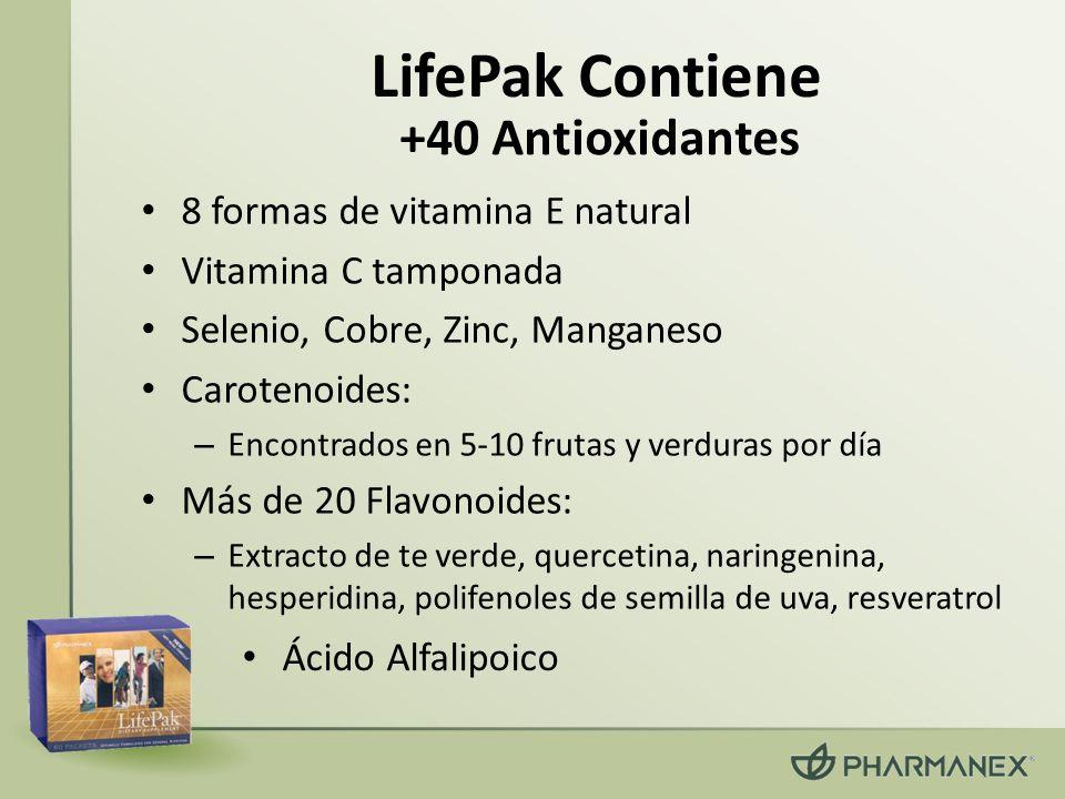LifePak Contiene 8 formas de vitamina E natural Vitamina C tamponada Selenio, Cobre, Zinc, Manganeso Carotenoides: – Encontrados en 5-10 frutas y verd