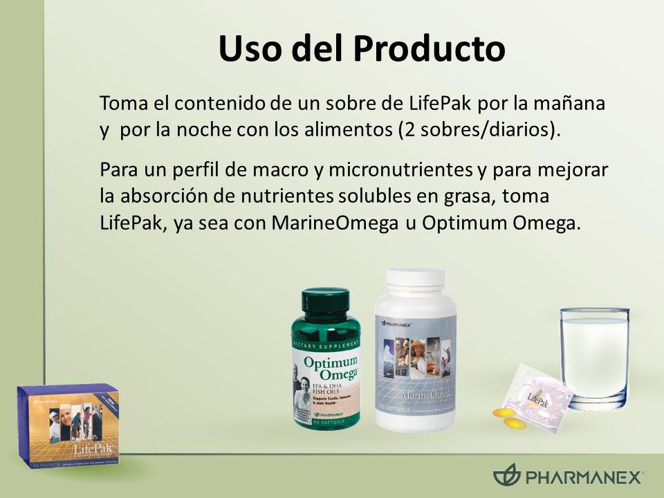 Uso del Producto Toma el contenido de un sobre de LifePak por la mañana y por la noche con los alimentos (2 sobres/diarios). Para un perfil de macro y