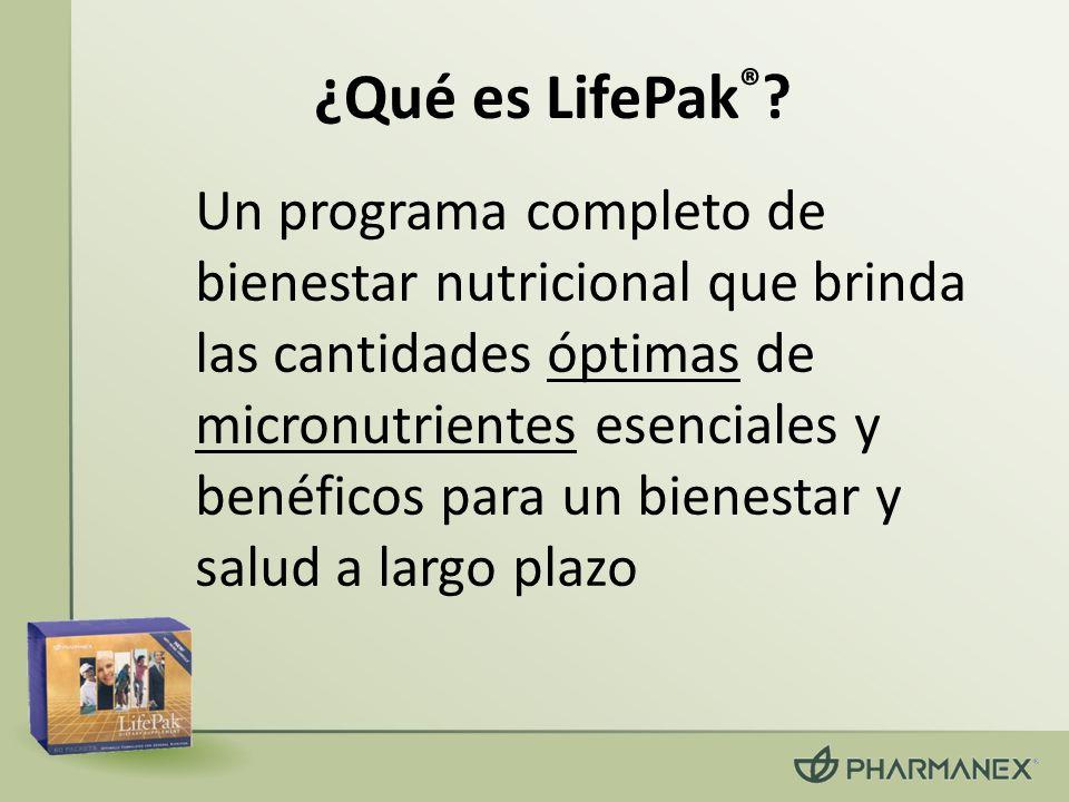 ¿Qué es LifePak ® ? Un programa completo de bienestar nutricional que brinda las cantidades óptimas de micronutrientes esenciales y benéficos para un