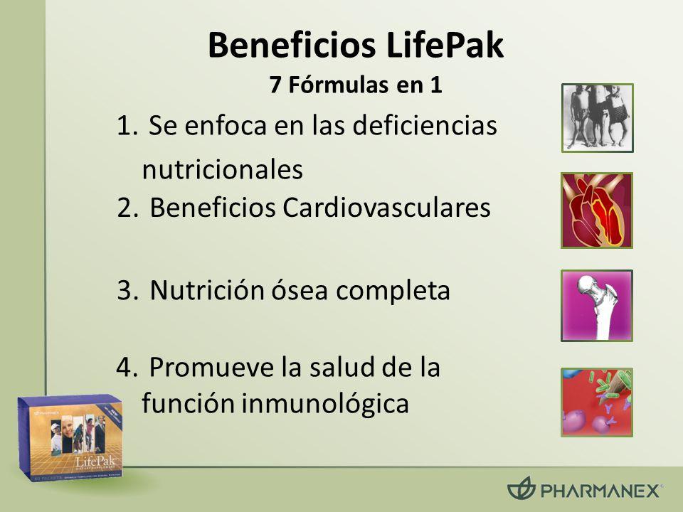 6.Protege contra las señales del envejecimiento 5.Mantiene normal el metabolismo de azucares en la sangre 7.Aumenta tus defensas antioxidantes (continua) Beneficios LifePak 7 Fórmulas en 1