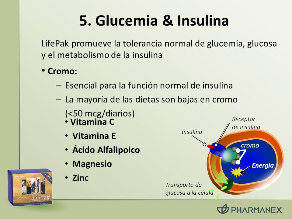5. Glucemia & Insulina LifePak promueve la tolerancia normal de glucemia, glucosa y el metabolismo de la insulina Cromo: – Esencial para la función no