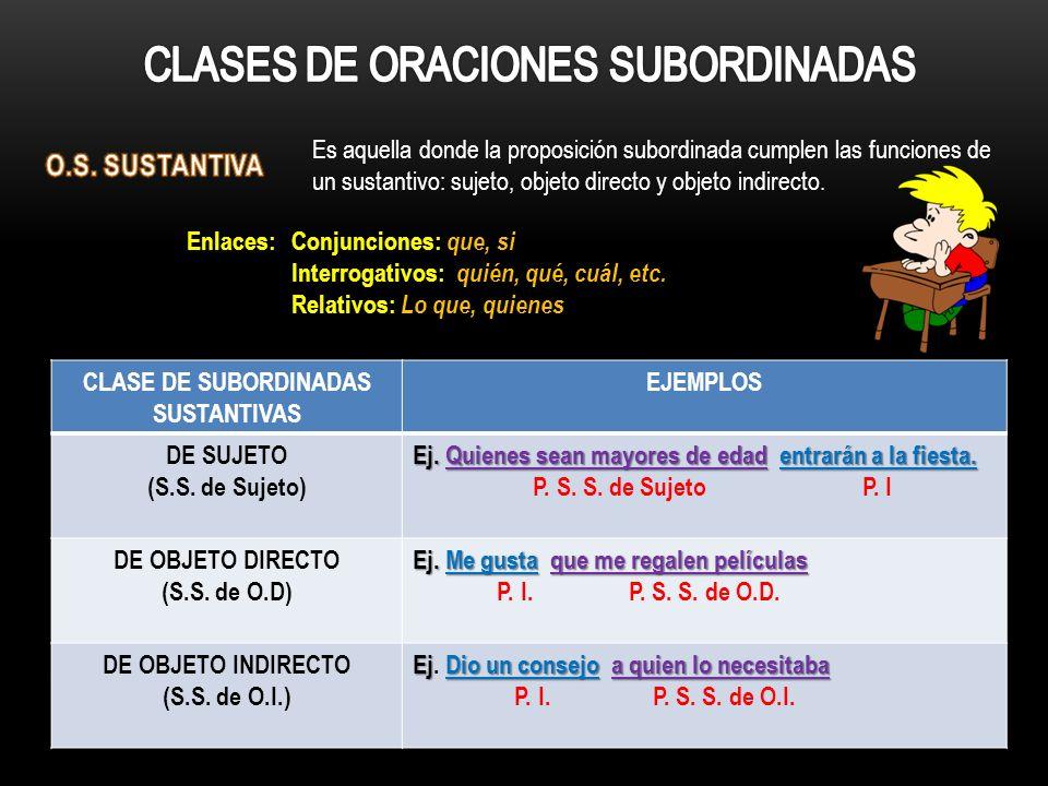 Es aquella donde la proposición subordinada cumplen las funciones de un sustantivo: sujeto, objeto directo y objeto indirecto. CLASE DE SUBORDINADAS S