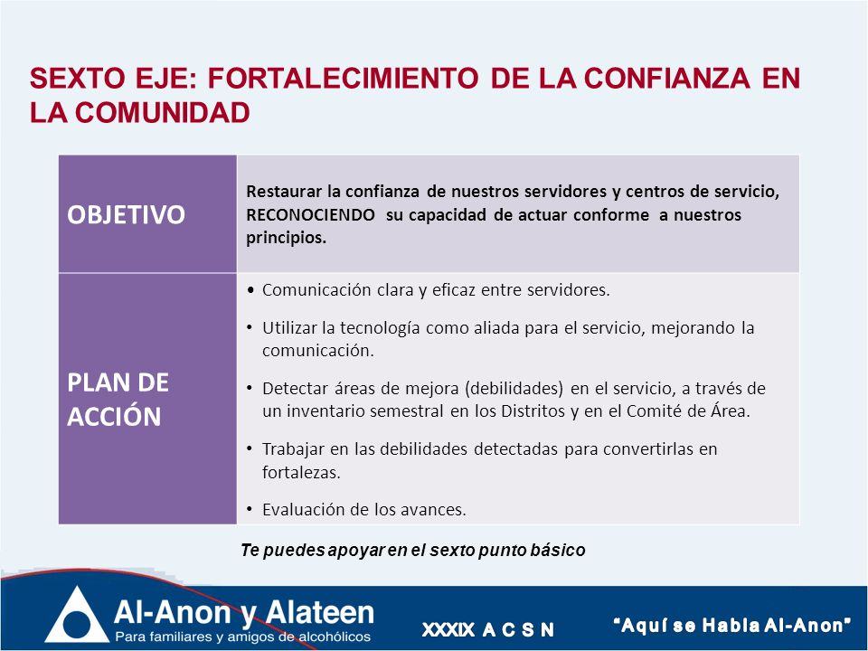 SEXTO EJE: FORTALECIMIENTO DE LA CONFIANZA EN LA COMUNIDAD OBJETIVO Restaurar la confianza de nuestros servidores y centros de servicio, RECONOCIENDO