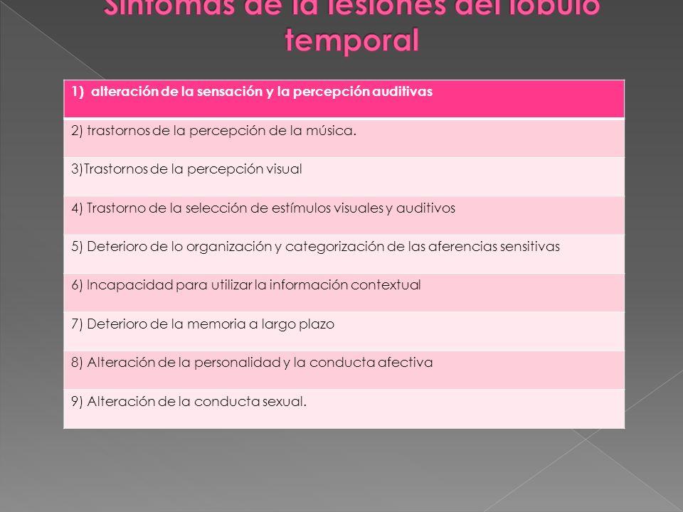 1) alteración de la sensación y la percepción auditivas 2) trastornos de la percepción de la música. 3)Trastornos de la percepción visual 4) Trastorno