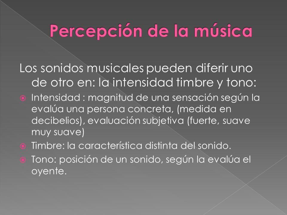 Los sonidos musicales pueden diferir uno de otro en: la intensidad timbre y tono: Intensidad : magnitud de una sensación según la evalúa una persona c