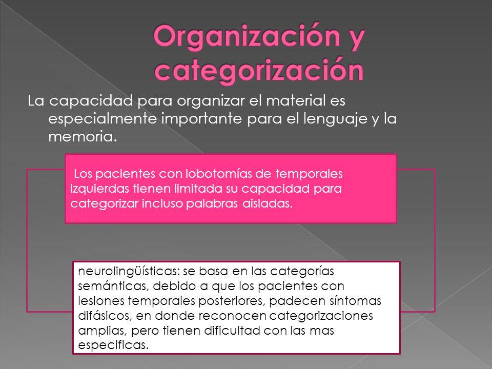 La capacidad para organizar el material es especialmente importante para el lenguaje y la memoria. Los pacientes con lobotomías de temporales izquierd