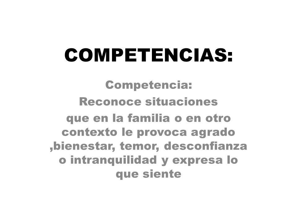 COMPETENCIAS: Competencia: Reconoce situaciones que en la familia o en otro contexto le provoca agrado,bienestar, temor, desconfianza o intranquilidad y expresa lo que siente