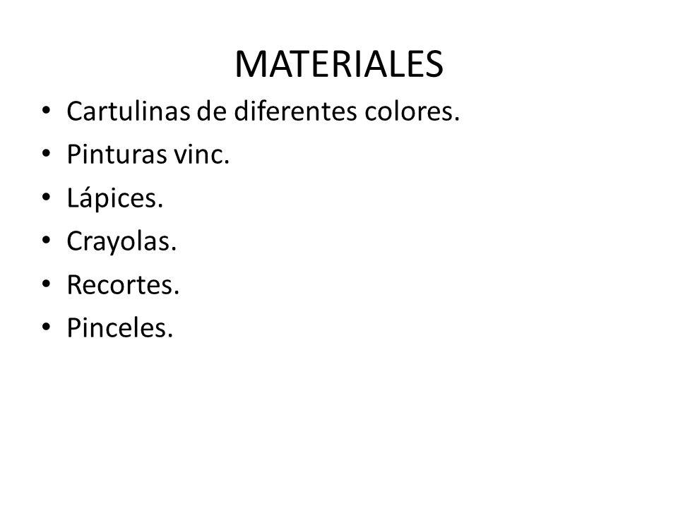 MATERIALES Cartulinas de diferentes colores. Pinturas vinc. Lápices. Crayolas. Recortes. Pinceles.