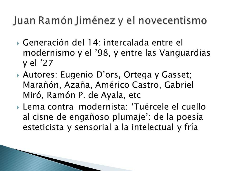 Generación del 14: intercalada entre el modernismo y el 98, y entre las Vanguardias y el 27 Autores: Eugenio Dors, Ortega y Gasset; Marañón, Azaña, Am