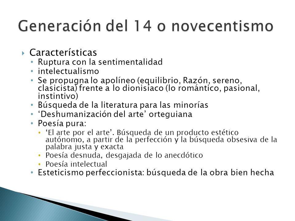 Características Ruptura con la sentimentalidad intelectualismo Se propugna lo apolíneo (equilibrio, Razón, sereno, clasicista) frente a lo dionisíaco
