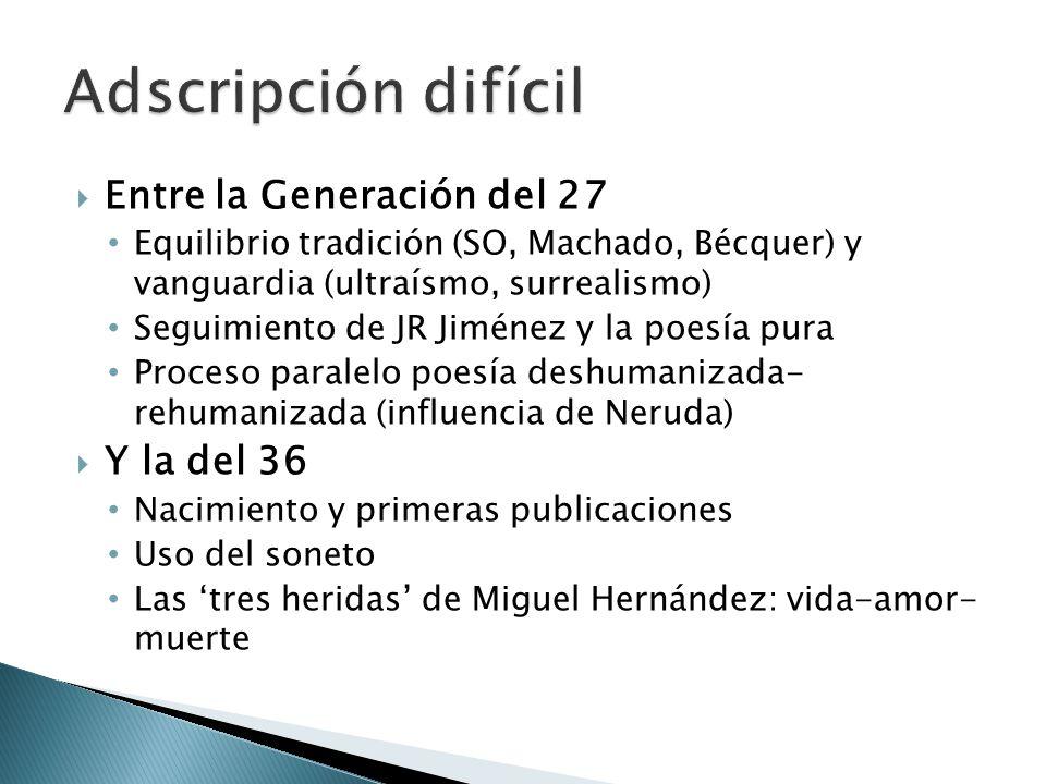 Entre la Generación del 27 Equilibrio tradición (SO, Machado, Bécquer) y vanguardia (ultraísmo, surrealismo) Seguimiento de JR Jiménez y la poesía pur