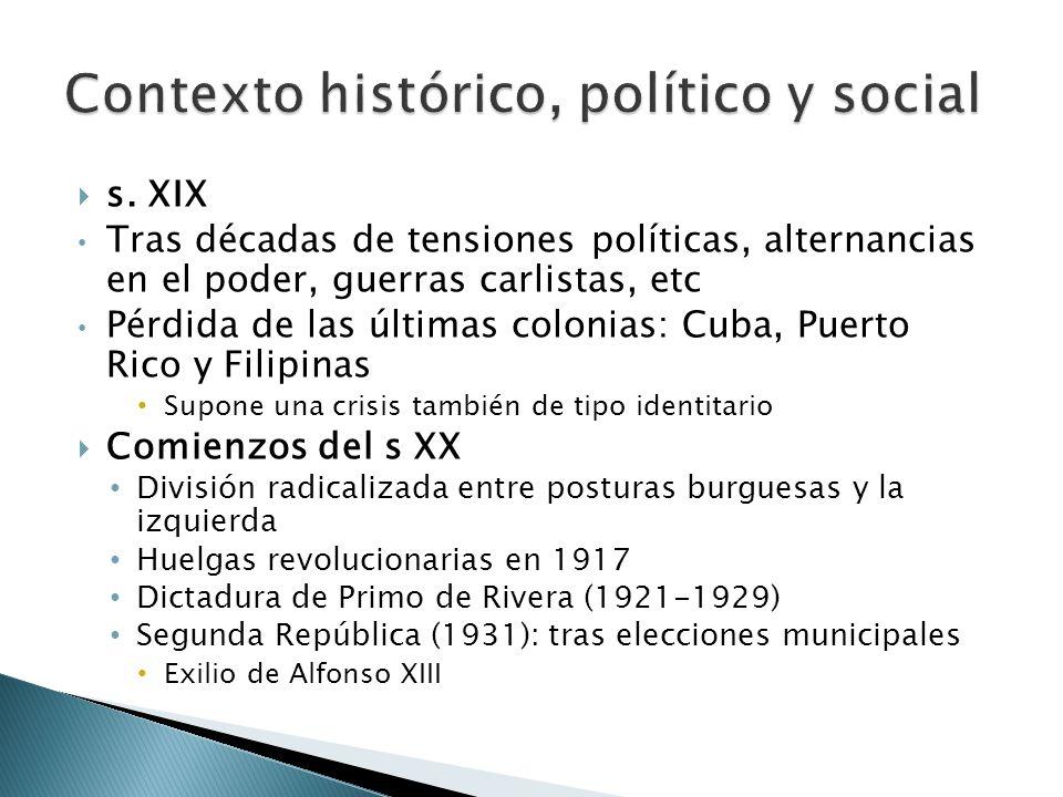 s. XIX Tras décadas de tensiones políticas, alternancias en el poder, guerras carlistas, etc Pérdida de las últimas colonias: Cuba, Puerto Rico y Fili