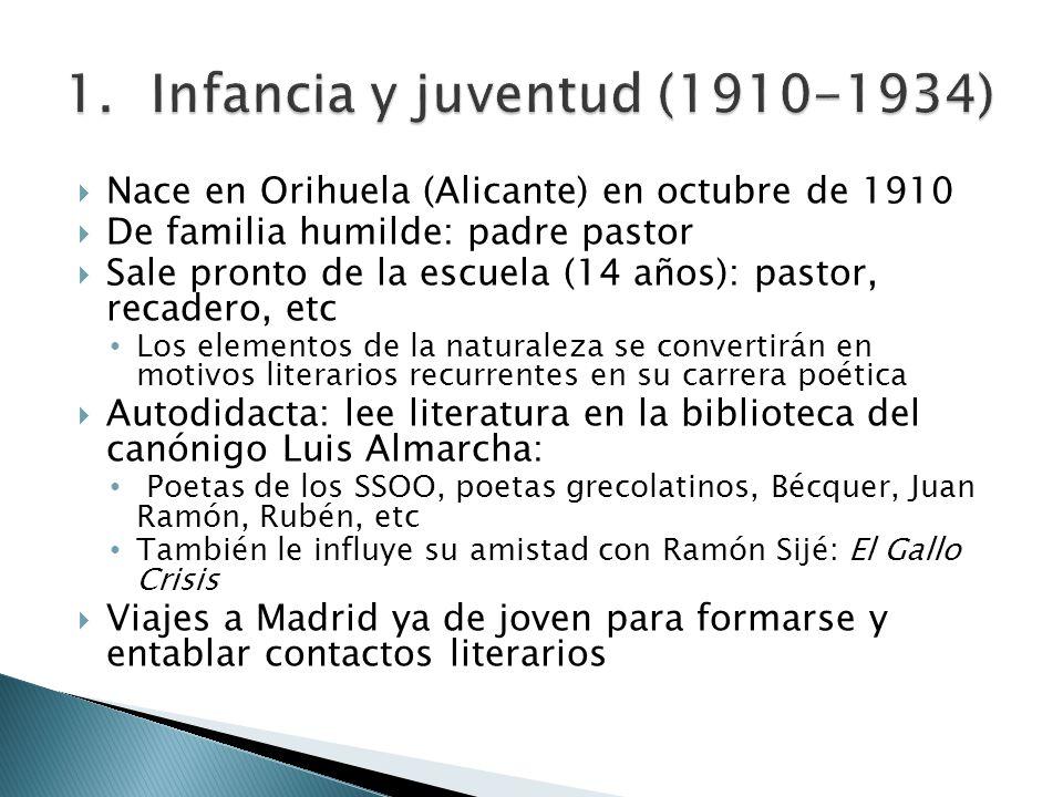 Nace en Orihuela (Alicante) en octubre de 1910 De familia humilde: padre pastor Sale pronto de la escuela (14 años): pastor, recadero, etc Los element