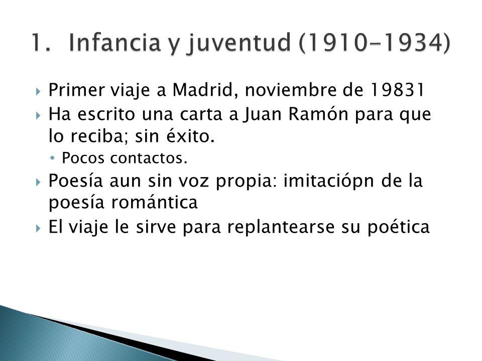 Primer viaje a Madrid, noviembre de 19831 Ha escrito una carta a Juan Ramón para que lo reciba; sin éxito. Pocos contactos. Poesía aun sin voz propia: