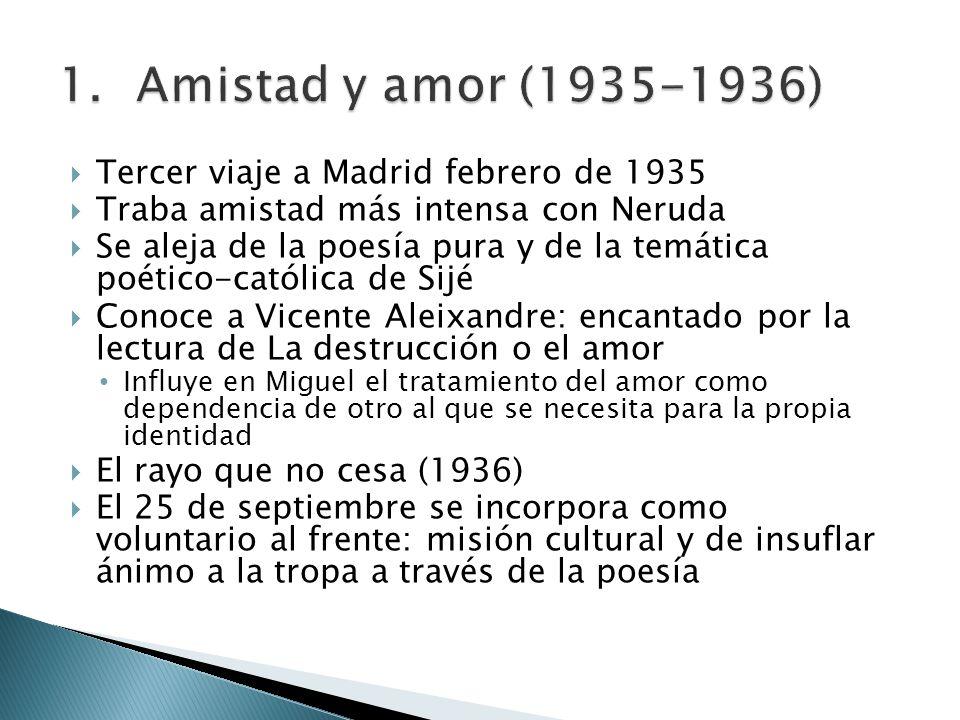 Tercer viaje a Madrid febrero de 1935 Traba amistad más intensa con Neruda Se aleja de la poesía pura y de la temática poético-católica de Sijé Conoce