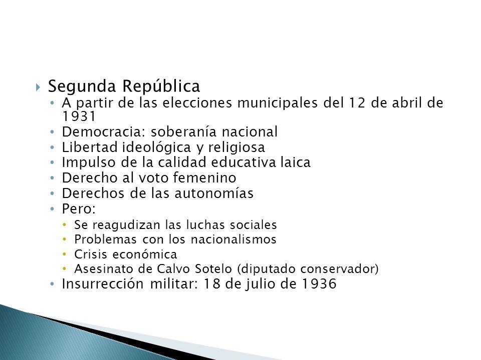 Segunda República A partir de las elecciones municipales del 12 de abril de 1931 Democracia: soberanía nacional Libertad ideológica y religiosa Impuls