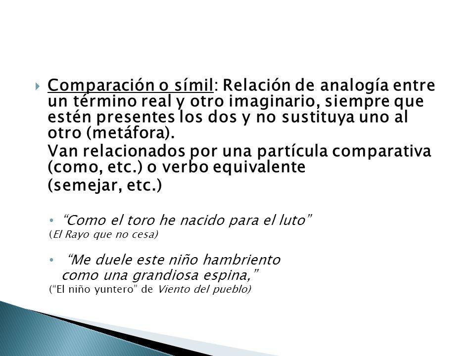 Comparación o símil: Relación de analogía entre un término real y otro imaginario, siempre que estén presentes los dos y no sustituya uno al otro (met