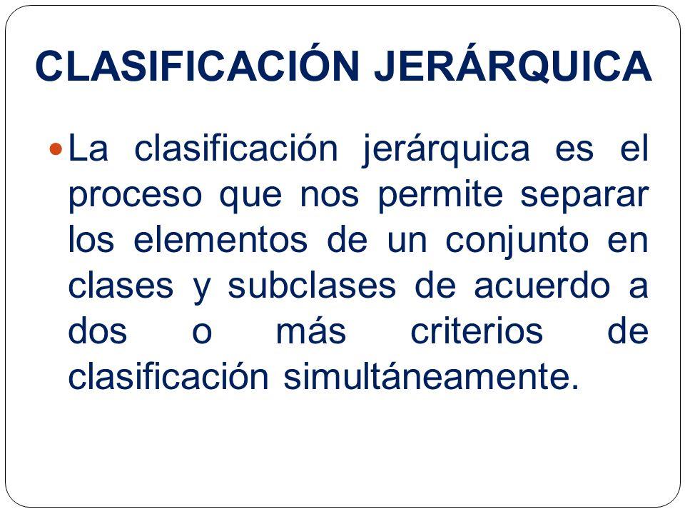 La clasificación jerárquica es el proceso que nos permite separar los elementos de un conjunto en clases y subclases de acuerdo a dos o más criterios