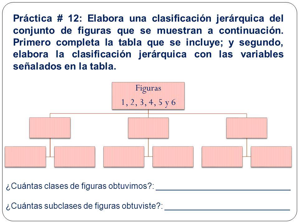 Práctica # 12: Elabora una clasificación jerárquica del conjunto de figuras que se muestran a continuación. Primero completa la tabla que se incluye;