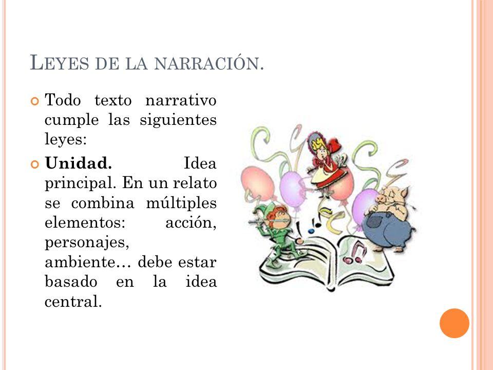 L EYES DE LA NARRACIÓN. Todo texto narrativo cumple las siguientes leyes: Unidad. Idea principal. En un relato se combina múltiples elementos: acción,