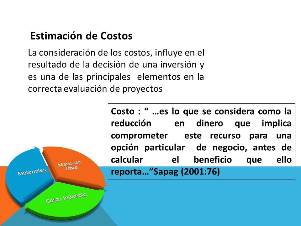 La consideración de los costos, influye en el resultado de la decisión de una inversión y es una de las principales elementos en la correcta evaluació