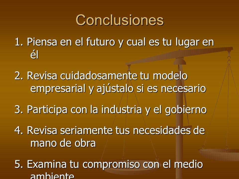 Conclusiones 1.Piensa en el futuro y cual es tu lugar en él 2.