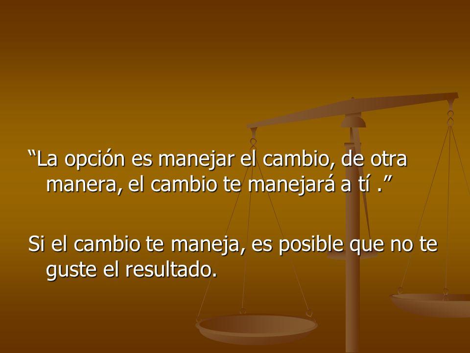 La opción es manejar el cambio, de otra manera, el cambio te manejará a tí.La opción es manejar el cambio, de otra manera, el cambio te manejará a tí.